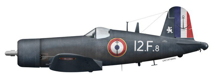 1954 French Aeronavale Chance Vought F4U-7 Corsair - Flottille 12F